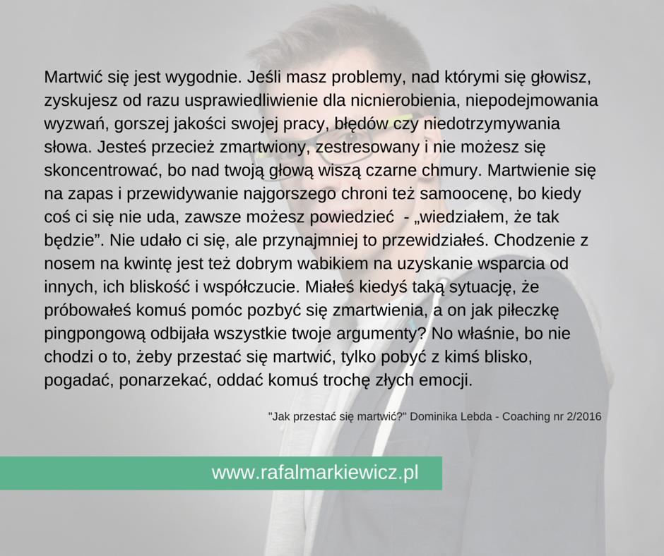 Rafał Markiewicz - coach- zamartwianie