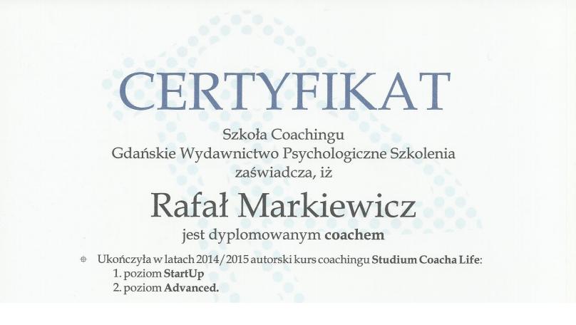 Rafał Markiewicz - coach - certyfikat